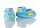 Blue baby shoes isolated on white — Stock Photo