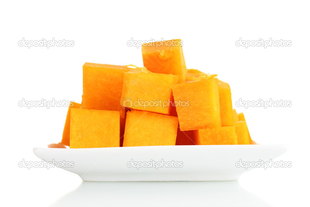 Sliced pumpkin on plate isolated on white  Stock Photo #8866500