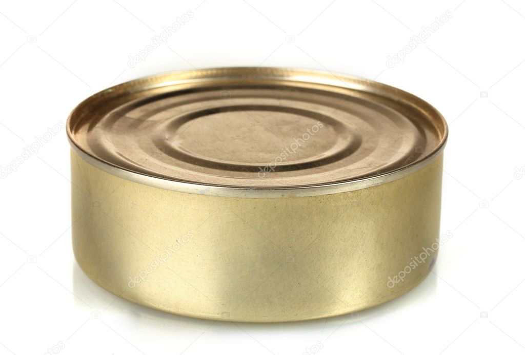 Tin with food isolated on white — Stock Photo #8866594