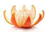 Ripe tasty mandarine with peel isolated on white — Stock Photo