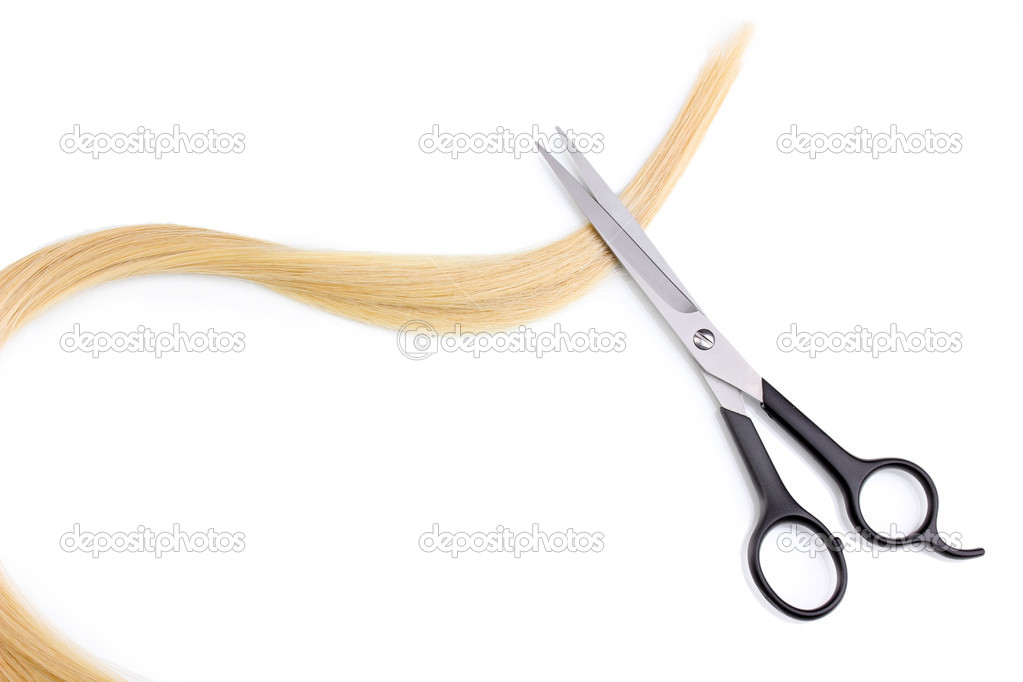 Shiny blond hair and hair cutting shears isolated on white — Stock Photo #8905583