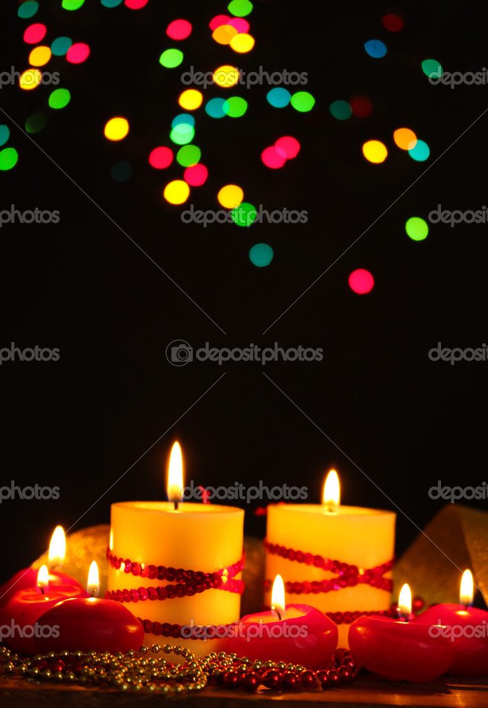 Beautiful candles and decor on wooden table on bright background — Stock Photo #8911444