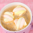 Cup of cappucino with marshmallows on pink background — Stock Photo #8923364