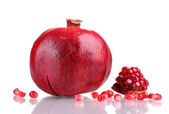 Ripe pomegranate fruit isolated on white — Stock Photo
