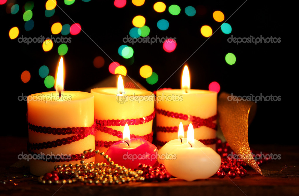Beautiful candles and decor on wooden table on bright background  Stock Photo #8923244