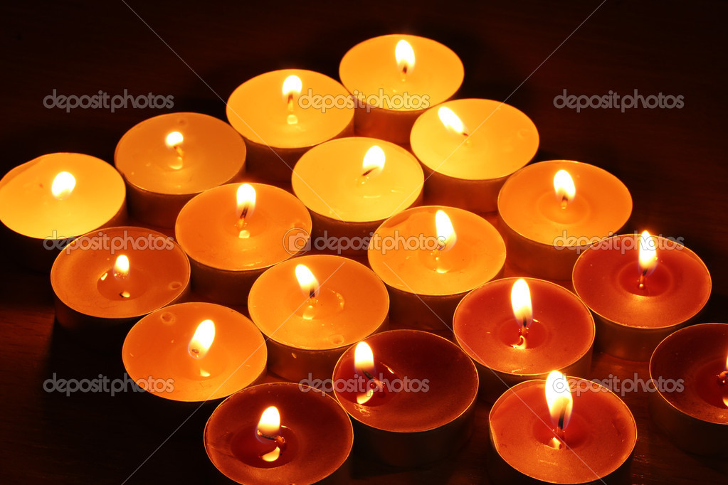 Beautiful candles and decor on wooden table — Stock Photo #8923264