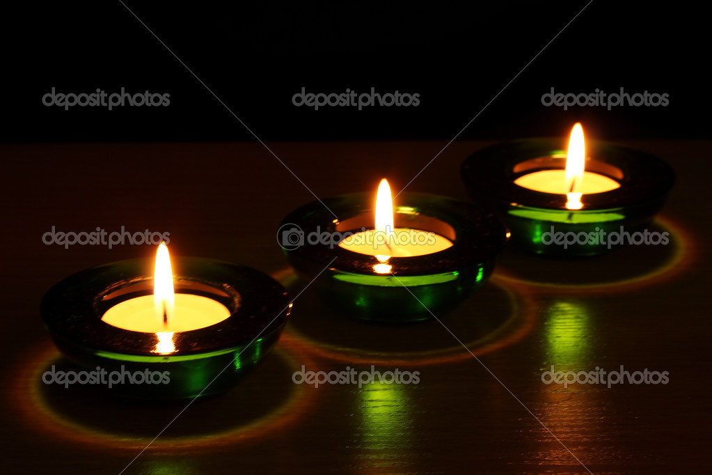 Beautiful candles and decor on wooden table — Stock Photo #8923273