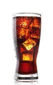 Glass of cola with ice isolated on white — Stock Photo