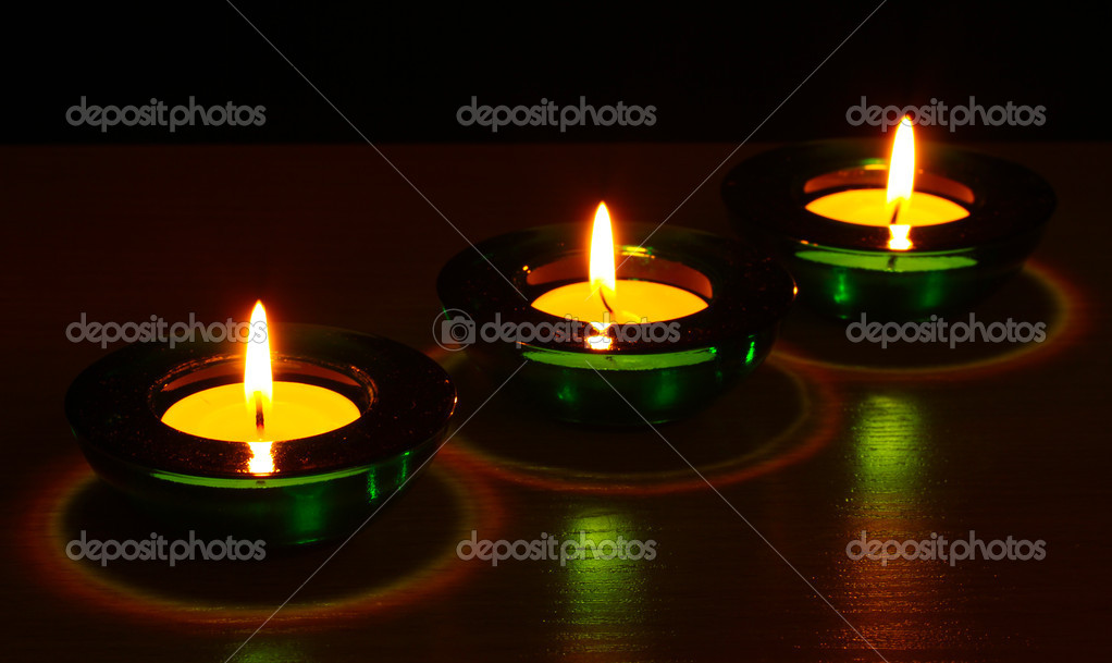 Beautiful candles and decor on wooden table — Stock Photo #8931413