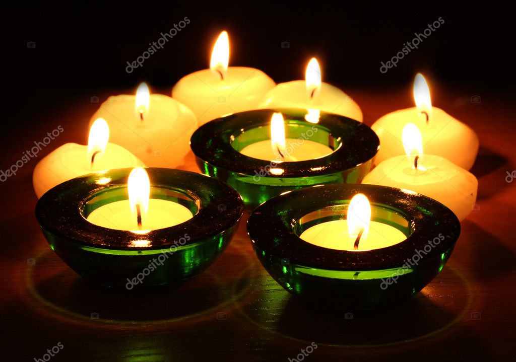 Beautiful candles and decor on wooden table — Stock Photo #8931415