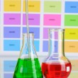 Two flasks with green and red liquid on color samples background — ストック写真