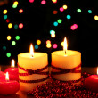 beautiful candles and decor on wooden table on bright background — Stock Photo