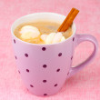 Cup of cappucino with marshmallows and cinnamon on pink background — Stock Photo #8978397