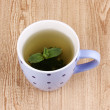 Mint tea with mint leaf on wooden background - Stock Photo