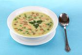 白で隔離される青いテーブル クロスのおいしいスープ — ストック写真