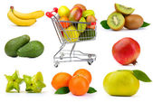Assortment of exotic fruits in collage — Stock Photo