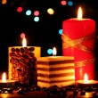 Stock Photo: Wonderful candles on wooden table on bright background