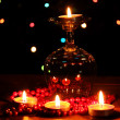 Royalty-Free Stock Photo: Amazing composition of candles on wooden table on bright background