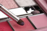 Makeup set with brush closeup — Stock Photo