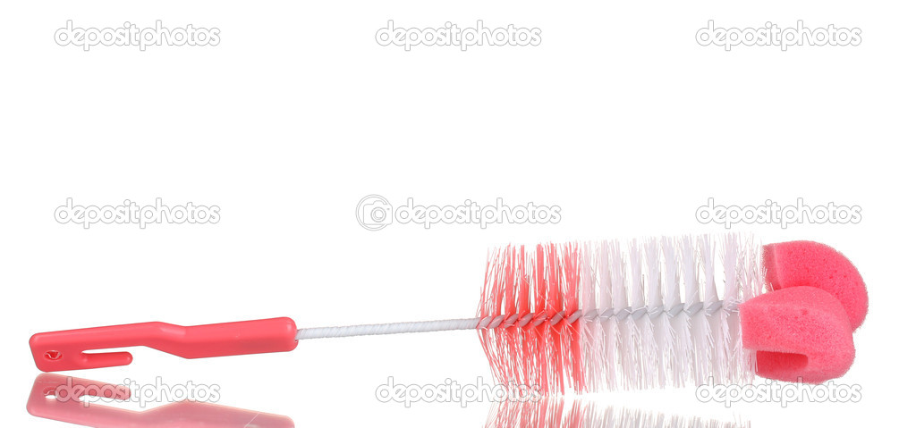 Pink cleaning brush isolated on white  Stock Photo #9055771