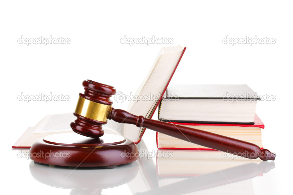 Judge's gavel and books isolated on white — Stock Photo #9076244