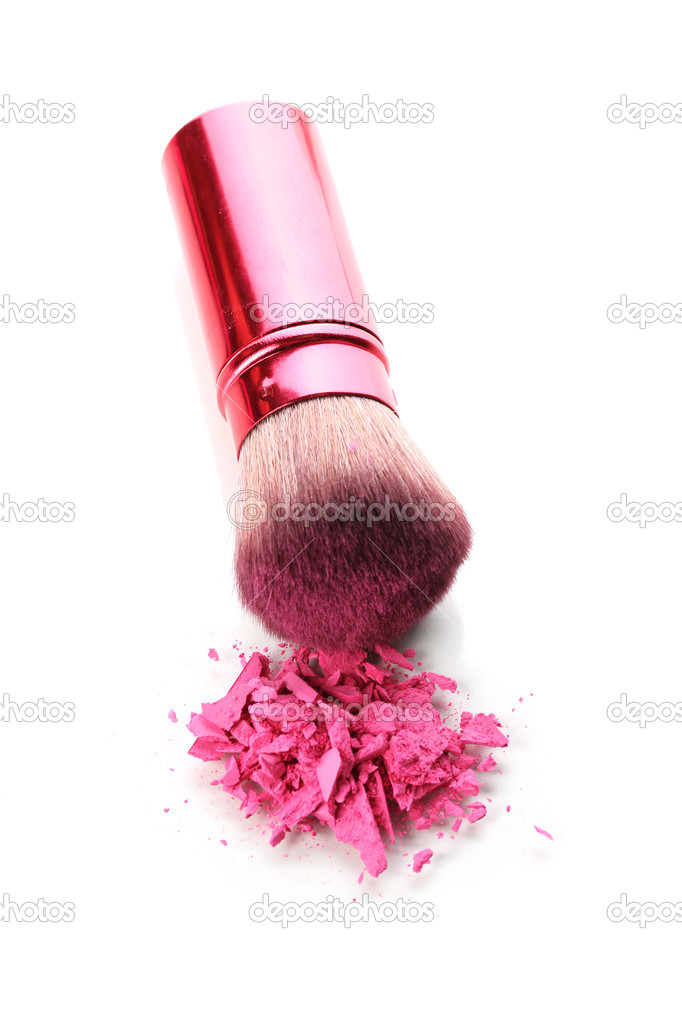 Brush and blusher isolated on white — Stock Photo #9076642