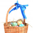 Colorful Easter eggs in the basket with a blue bow isolated on white — Stock Photo #9102709