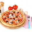 Aromatic pizza with vegetables and mushrooms isolated on white - 图库照片