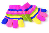 Bright striped baby gloves isolated on white — Stock Photo