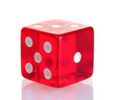 Red dice isolated on white — Stock Photo