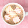 Cup of cappucino with marshmallows on pink background — Stock Photo #9128788
