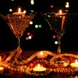 Amazing composition of candles and glasses on wooden table on bright backgr — Stock Photo #9128937