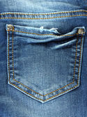 Blue jeans pocket closeup — Stock Photo