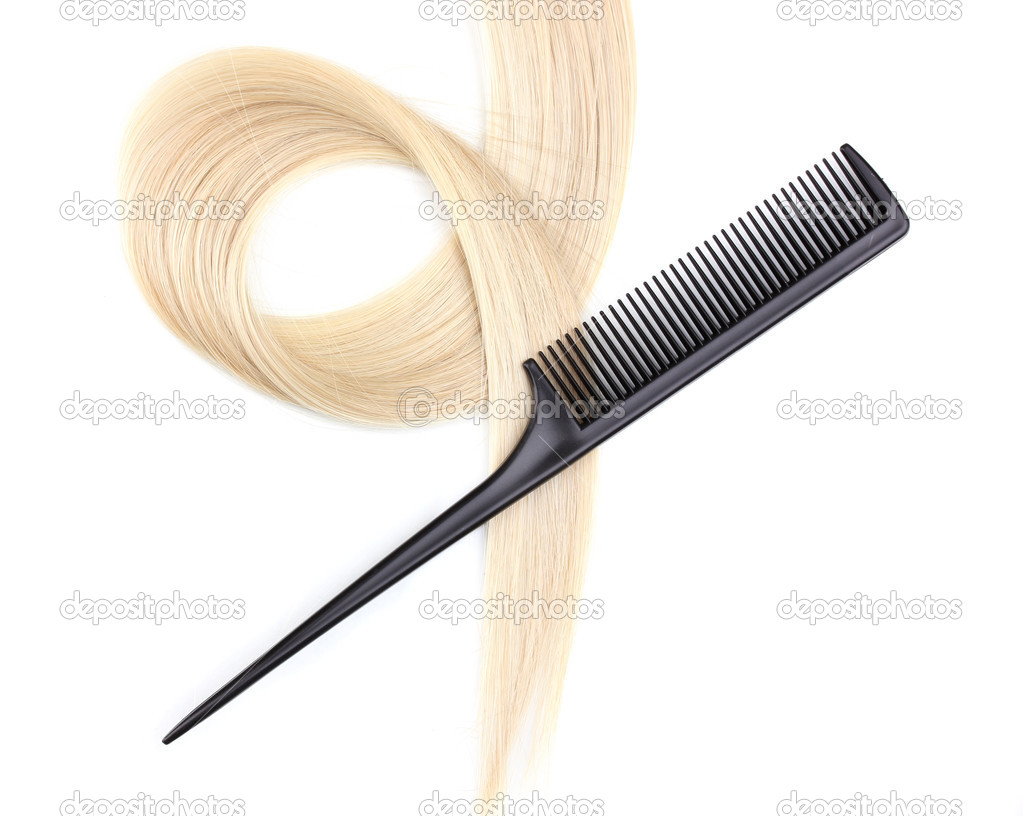 Shiny blond hair and comb isolated on white — Stock Photo #9128895