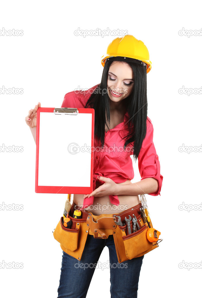 Фото девушка строитель