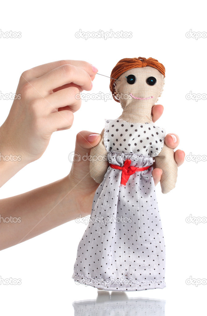 Voodoo panenku divka v rukou zen izolovanych na bilem - Stock Fotografie belchonock #9132709