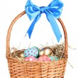 Colorful Easter eggs in the basket with a blue bow isolated on white — Stock Photo #9167845