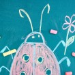 Lady-beetle, child's drawing with chalk — Stock Photo