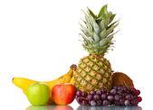 Fresh tropical fruits isolated on white — Stock Photo