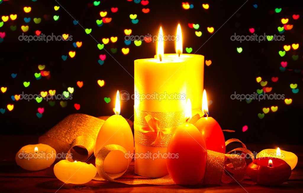 Beautiful candle and decor on wooden table on bright background — Stock Photo #9168004