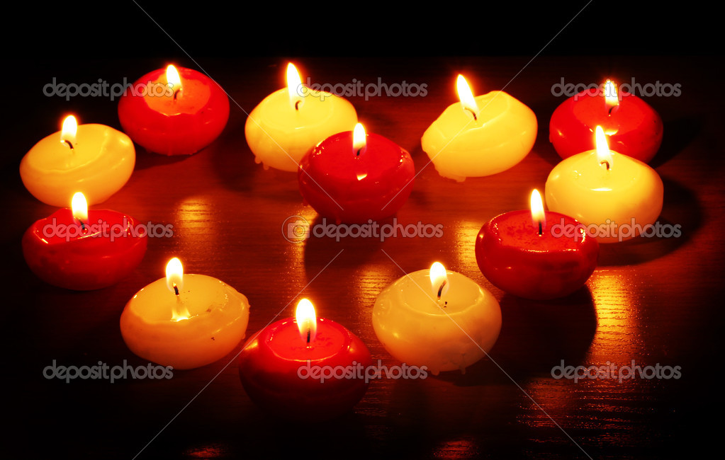 Beautiful candles and decor on wooden table — Stock Photo #9169649