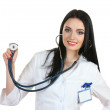 Young beautiful doctor with stethoscope isolated on white — Stock Photo