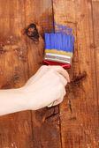 Pintando la valla de madera con pintura amarilla — Foto de Stock