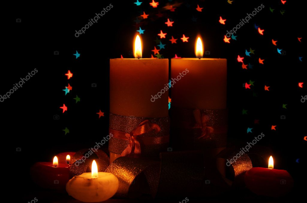 Beautiful candle and decor  on wooden table on bright background — Stock Photo #9184968