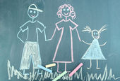 Happy family, child's drawing with chalk — Foto Stock