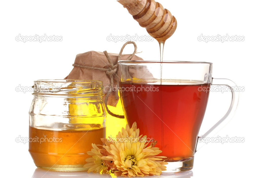 Honey and cup of tea isolated on white — Stock Photo #9210603