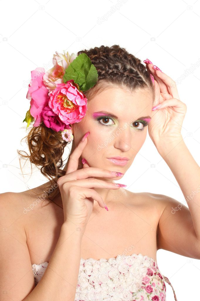 Beautiful girl with flowers in her hair isolated on white  Stock Photo #9210852