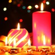 Wonderful candles on wooden table on bright background — 图库照片