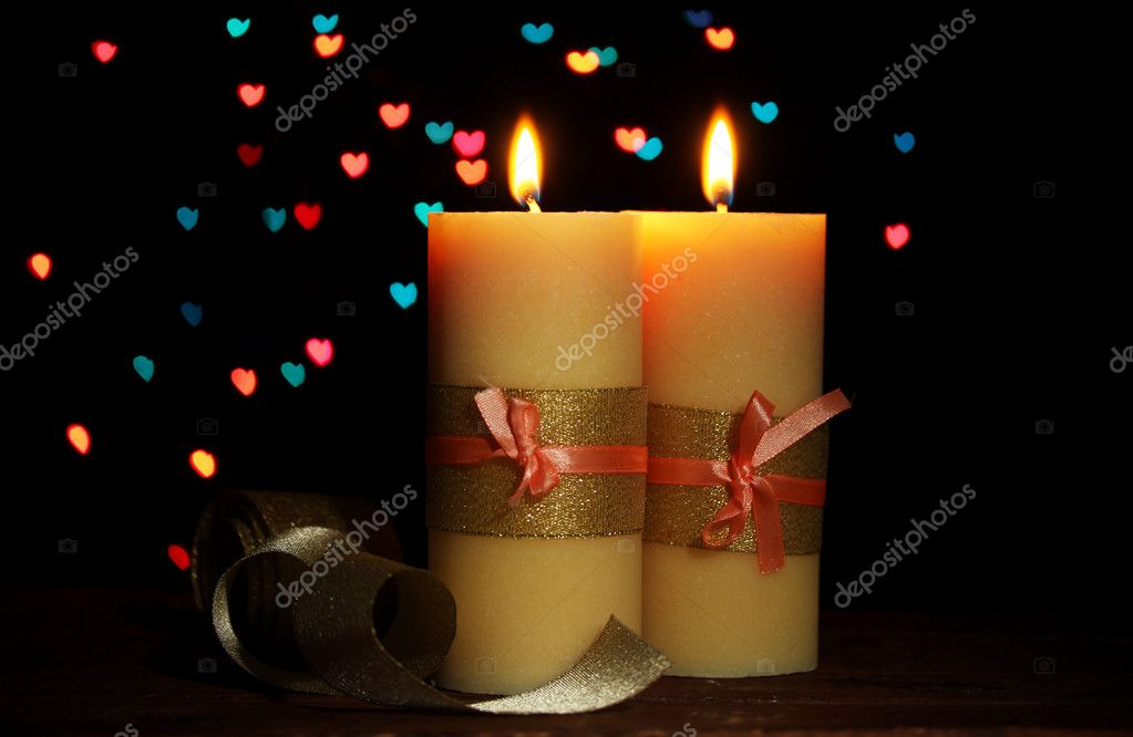 Beautiful candle and decor on wooden table on bright background — Stock Photo #9244454