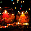Wonderful composition of candles on wooden table on bright background — Stock Photo #9261829